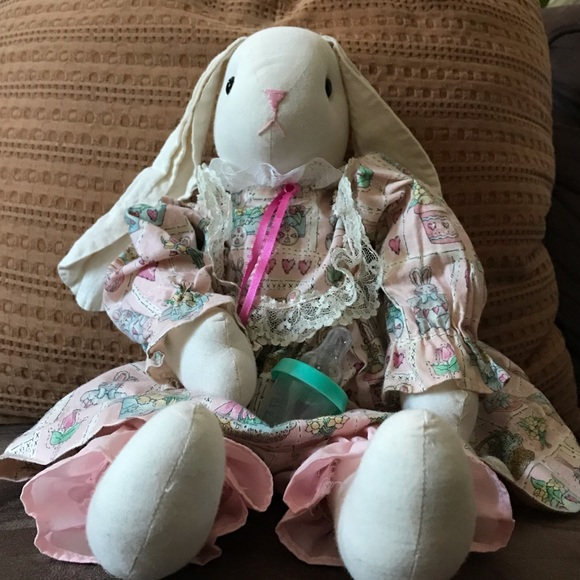 Vintage handmade linen rabbit doll with clothing